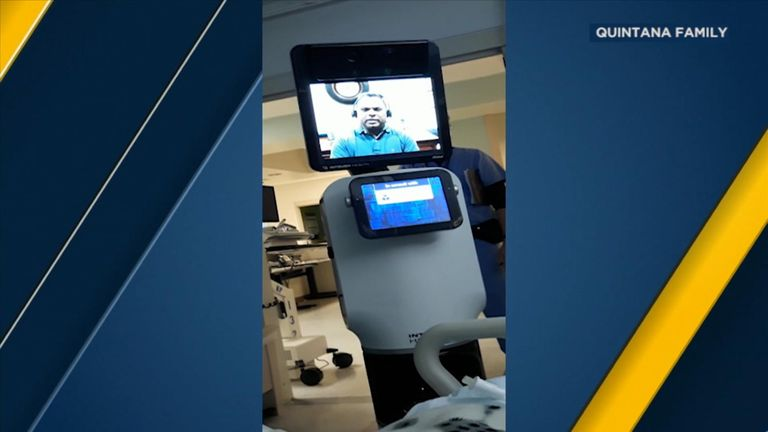 The doctor was displayed on a large iPad-style screen. Pic: Quintana family/ABC News