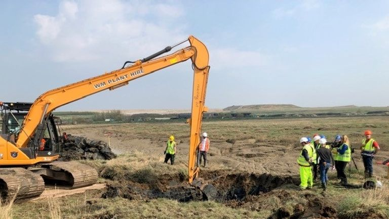A Hurricane plane is dug up in Essex