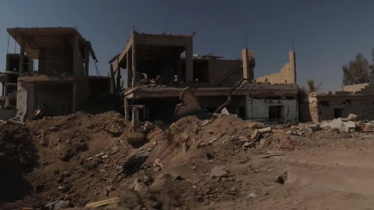 The streets of Baghouz are full of smashed buildings - everything has been destroyed