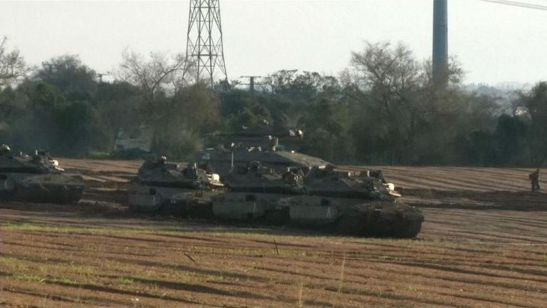 Israeli troops and armoured vehicles close to the border with Gaza