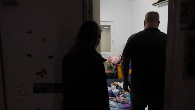 Moran Freibach shows Sky News a safe room in his house