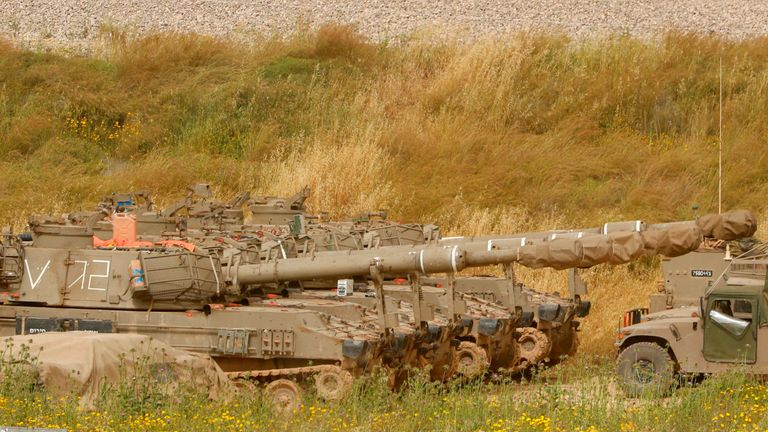 Israeli tanks have lined up near the border with Gaza