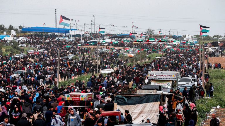Israeli forces estimate up to 40,000 Palestinian protesters have assembled on the border