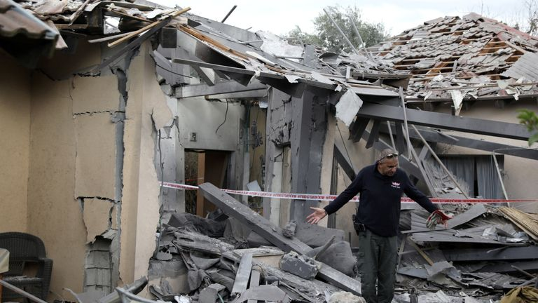 A house north of Tel Aviv was badly damaged by a rocket on Monday