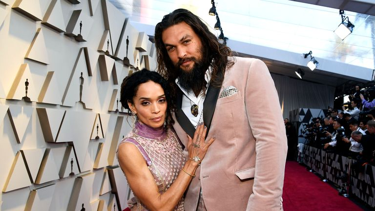 Jason Momoa and wife Lisa Bonet at the Oscars last month