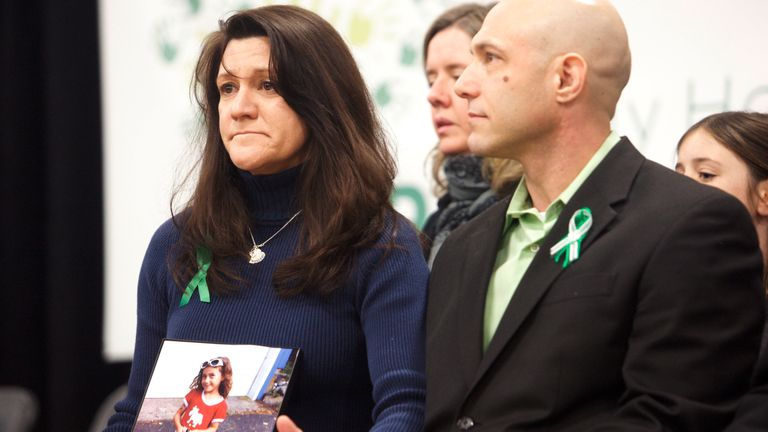 Jennifer Hensel and Jeremy Richman, parents of Avielle Richman, 6, a victim of the December 14, 2012 shooting at Sandy Hook Elementary School, attend the launch of The Sandy Hook Promise, a non-profit created in response to the shooting in Newtown, Connecticut January 14, 2013