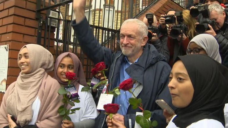 Mr Corbyn was visiting a Muslim Welfare Centre in north London