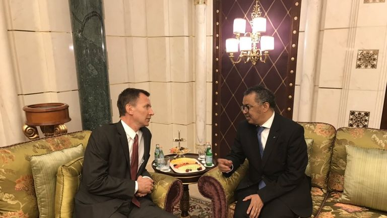 Jeremy Hunt (L) with the director of the WHO in Jeddah. Pic: Jeremy Hunt