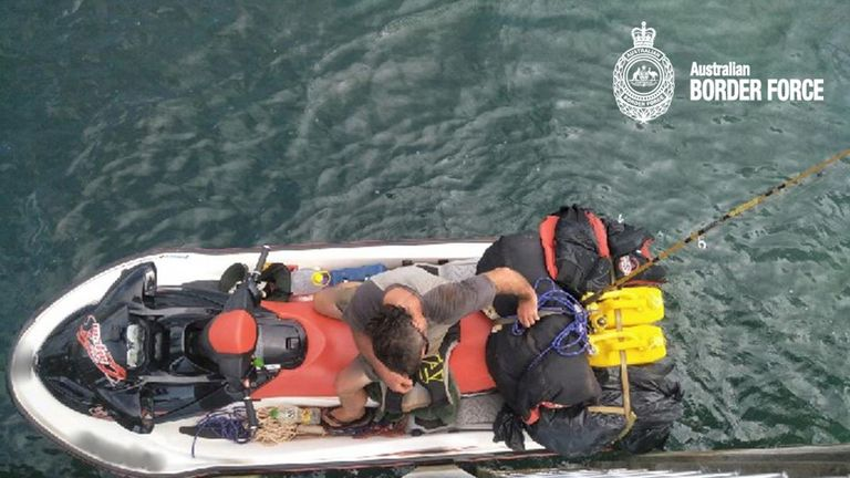Man tried to flee Australia by jet ski. Pic: Australian Border Force