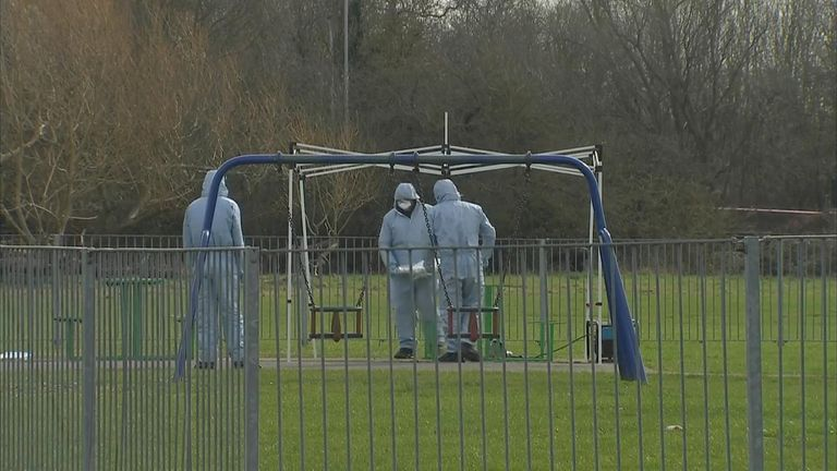Forensic specialists been seen in the park where Jodie was stabbed
