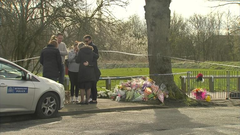 Jodie's father, right, was with family members who observed tributes at the Romford park on Monday