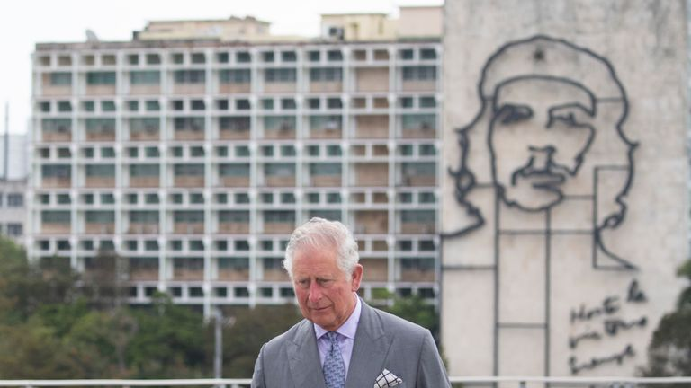 The Prince of Wales and the Duchess of Cornwall attend a wreath laying ceremony at the Jose Marti Memorial in Havana, Cuba