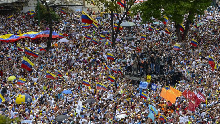 People flooded the streets of Caracas to welcome home Guaido