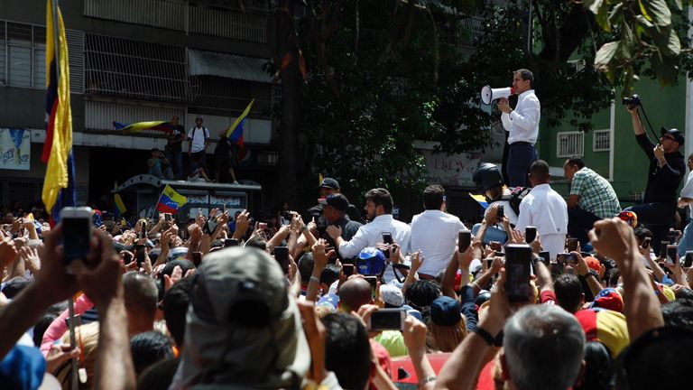 Guaido speaks to the crowds in the west of city