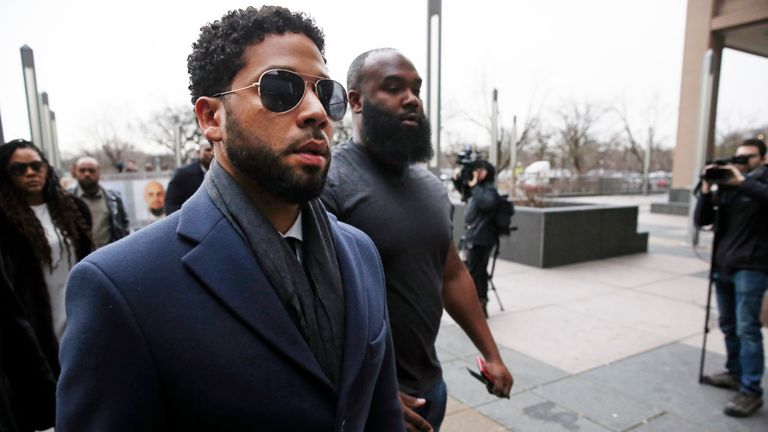 Jussie Smollett arrives at court