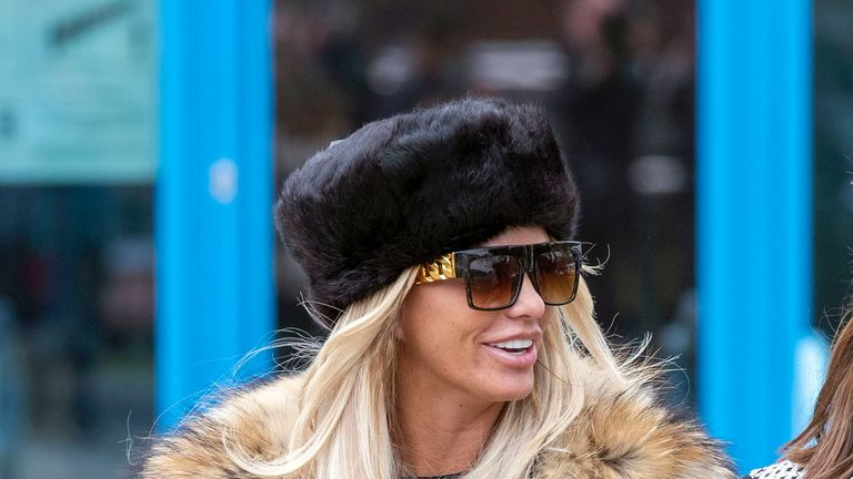 Katie Price leaving court after denying two counts of  using threatening and abusive words or behaviour likely to cause harassment, alarm or distress