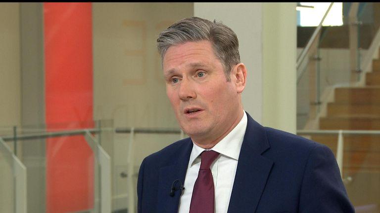 Sir Keir Starmer MP talks to Sopie Ridge in the glass box.