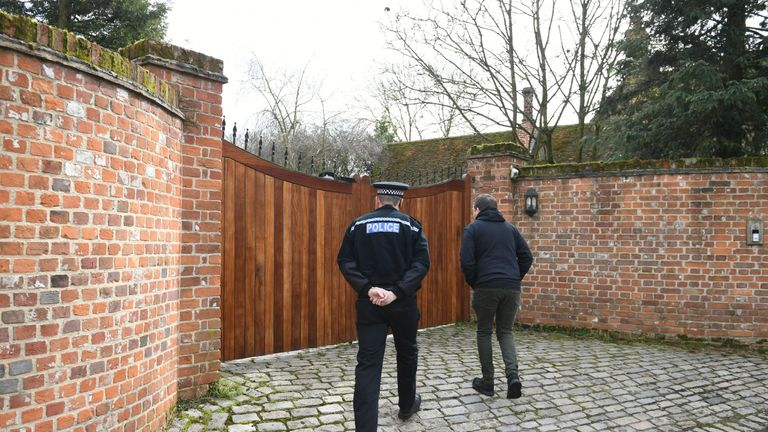 Police in North End, Dunmow, Essex, outside the home of Keith Flint