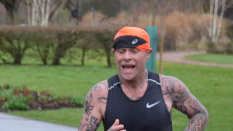 The Prodigy's Keith Flint takes part in a 5km park run at Central Park in Chelmsford, Essex, two days before he was found dead