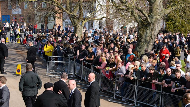 Fans gather at the funeral of Keith Flint at St Mary's Church on March 29, 2019 in Braintree, England