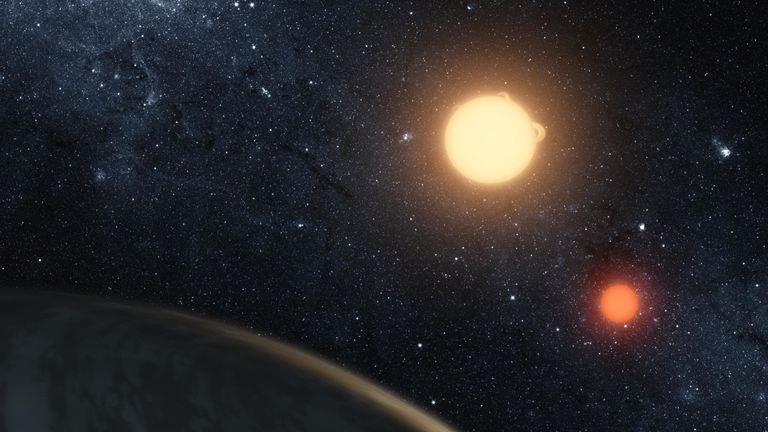 IN SPACE, UNSPECIFIED: In this handout digital illustration released on September 15, 2011 by NASA, the newly-discovered gaseous planet Kepler-16b orbits it's two stars. NASA's Kepler Mission discoverd the world orbiting two Stars, the larger a K dwarf and the smaller a red dwarf. (Photo by NASA/JPL-Caltech/T. Pyle via Getty Images)