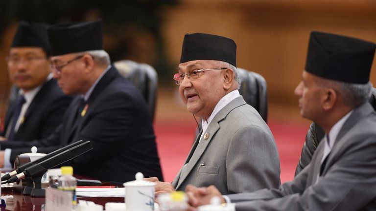 Nepal's Prime Minister Khadga Prasad Sharma Oli speaks during a meeting with Chinese Premier Li Keqiang at the Great Hall of the People in Beijing, China June 21, 2018