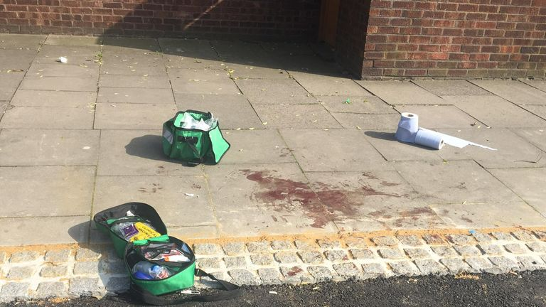 The aftermath of the most recent stabbing in Brettenham Road