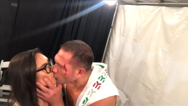 Kubrat Pulev grabbed and kissed Jennifer Ravalo during a post-match interview