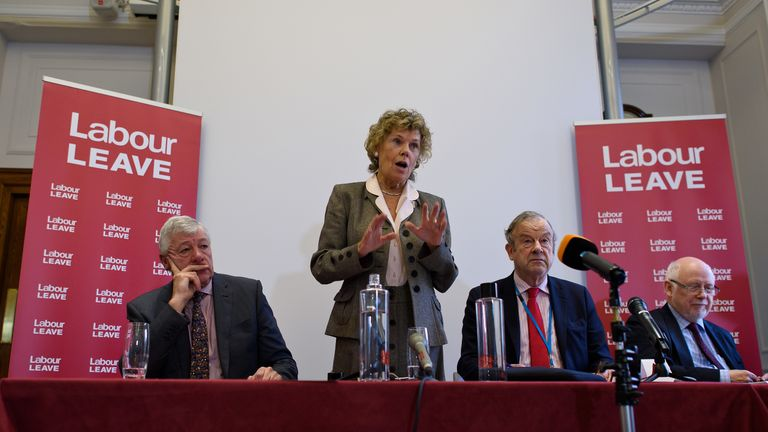 Labour MP Kate Hoey speaks at the launch of Labour Leave, along with Graham Stringer, John Mills and Kelvin Hopkins