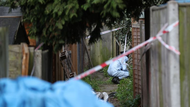 Police forensics officers in an alleyway at the back of properties on Darell Road in Kew, south-west London