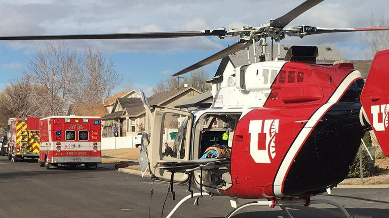 The boy was flown to hospital by helicopter Pic: Layton Fire Department
