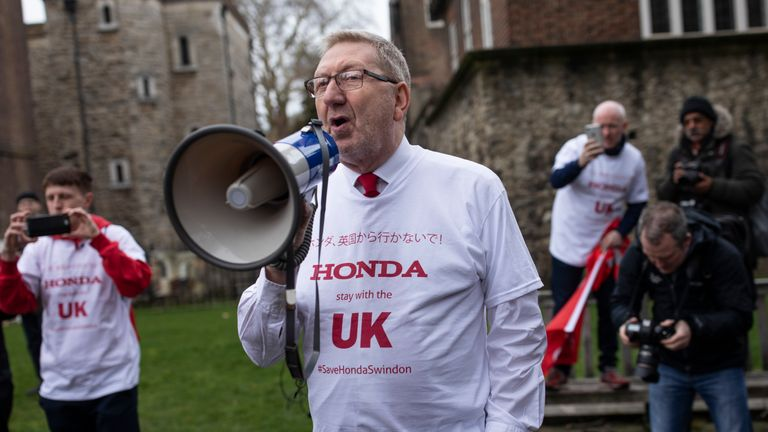 General Secretary of Unite the Union Len McCluskey at a march outside parliament on 6 March
