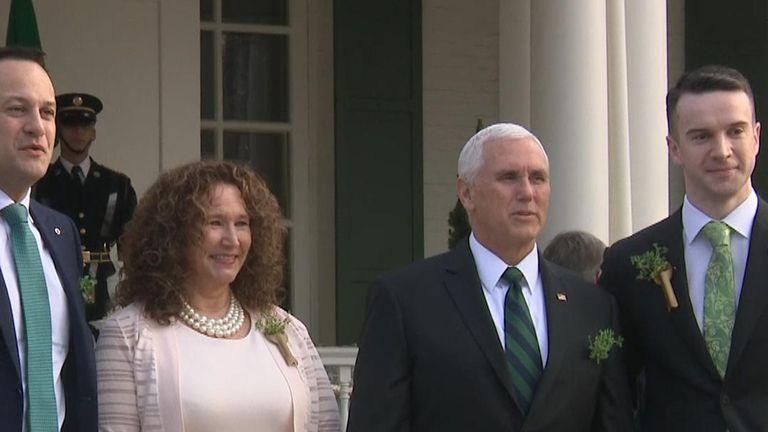 Irish Premier Leo Varadkar and partner Matt Barrett meet US vice-president Mike Pence