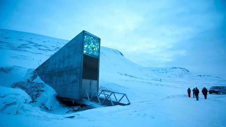 The international gene bank Svalbard Global Seed Vault outside Longyearbyen