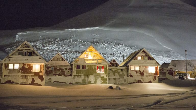Houses in the Norwegian town of Longyearbyen