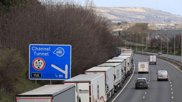 Lorries queue on M20 near Dover