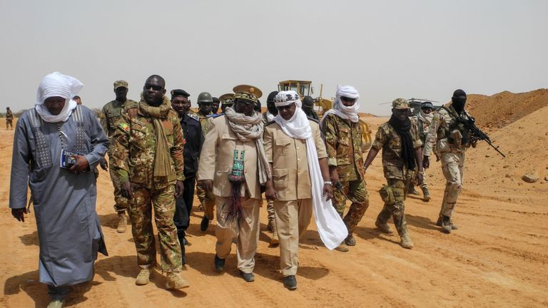 Dignitaries visit the Malian army's military base in Menaka region yesterday. File pic