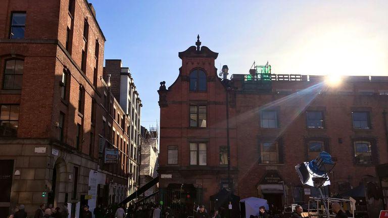 Film crews were busy at work in Manchester's Northern Quarter. Pic: Twitter/Kalpesh