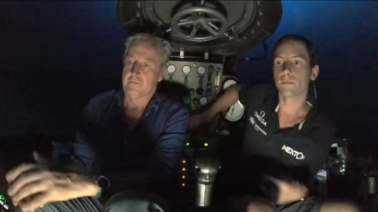 Mark Austin broadcasts from 250m below the Indian Ocean