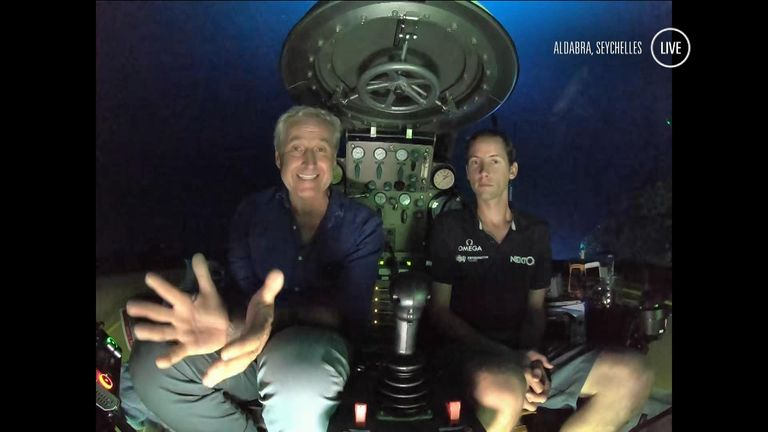 Mark Austin and pilot Randy Holt descend to 250 metres below the ocean surface