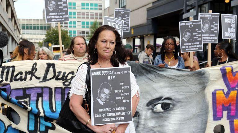 Mark Duggan's mother Pamela leads a march in 2014