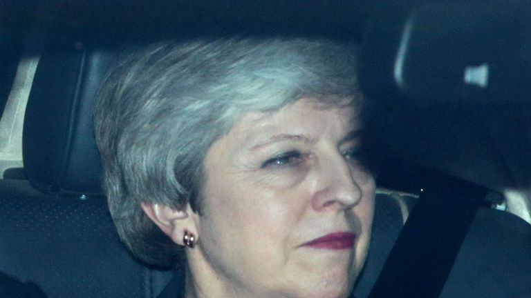Theresa May leaves Downing St after offering her resignation