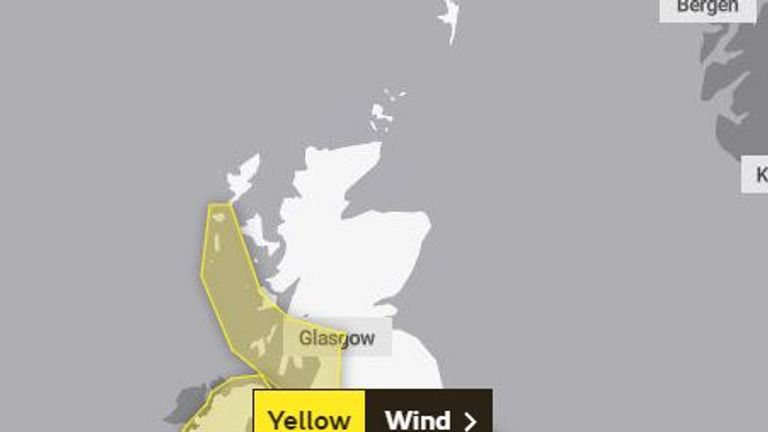 Yellow weather warnings are in place across much of the UK today. Pic: Met Office