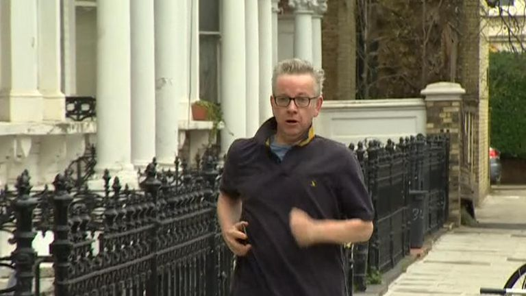 Michael Gove goes for a run