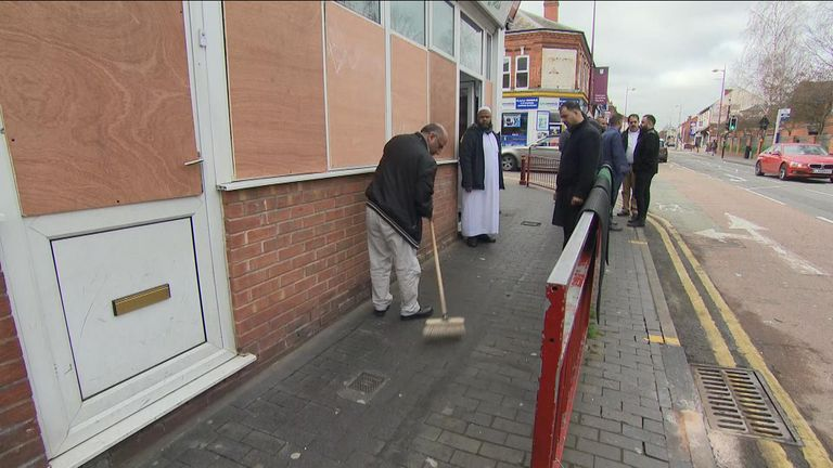 The damage saw windows smashed with a sledgehammer in five Birmingham mosques.