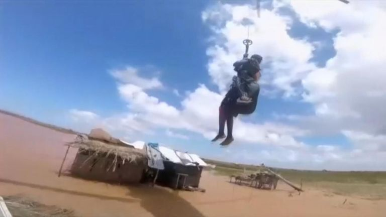 Woman airlifted to safety from Mozambique cyclone