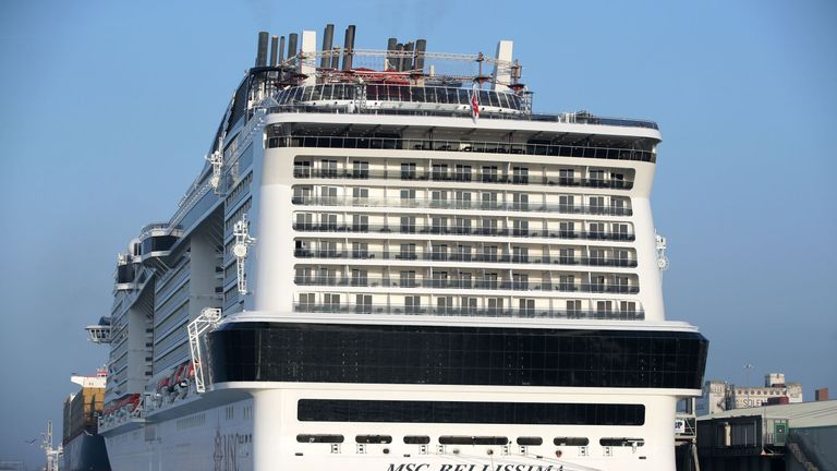 The MSC Bellissima, the largest cruise ship to be christened in the UK, arrives into berth 101 at City Cruise Terminal in Southampton for it's naming ceremony
