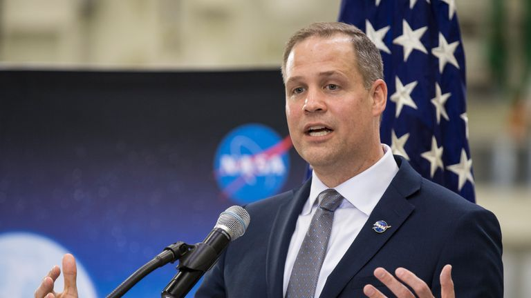 CAPE CANAVERAL, FL - MARCH 11: In this handout photo provided by NASA, NASA Administrator Jim Bridenstine talks to employees about the agencys progress toward sending astronauts to the Moon and on to Mars during a televised event at the Neil Armstrong Operations and Checkout Building at NASA's Kennedy Space Center on March 11, 2019 in Cape Canaveral, Florida. NASA's Orion spacecraft, which is scheduled to be flown on Exploration Mission-2, was on display during the event. (Photo by Aubrey Gemign
