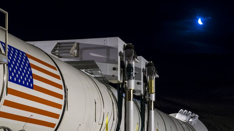 Space Launch System booster being tested