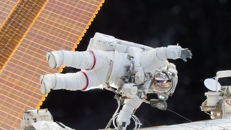 A NASA handout of astronaut Scott Kelly floating during a spacewalk in 2015